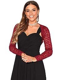 KRISP® Donna Lace Evening Party Coprispalle Crop Top Open Wrap Blazer  Bolero Camicetta 65457df687c
