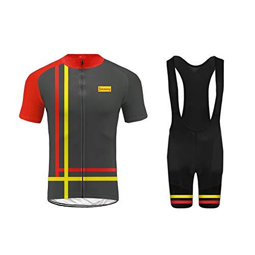 Uglyfrog Designs Herren Rennrad MTB Radtrikot Set Fahrrad Trikot Kurzarm + Radhose mit Trägerhosen Farbabstimmung der Flagge Style-Update