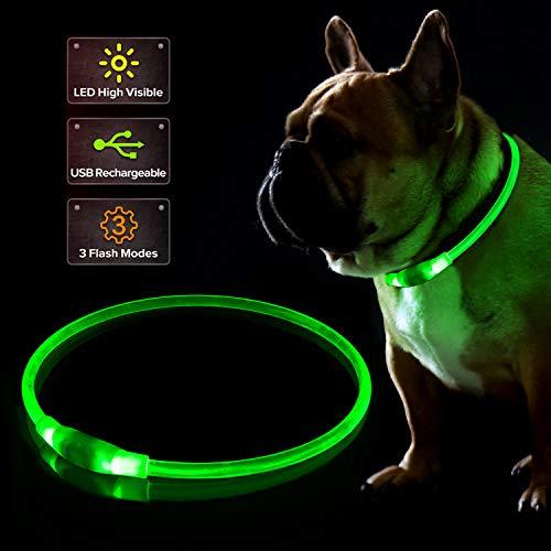 KABB Collier pour Chien LED - Rechargeable par USB - Lumineux de sécurité - Collier pour Chien Con 3 Modes Clignotants - réglable Collier de Nuit pour Chiens de Petite, Moyenne et Grande Taille