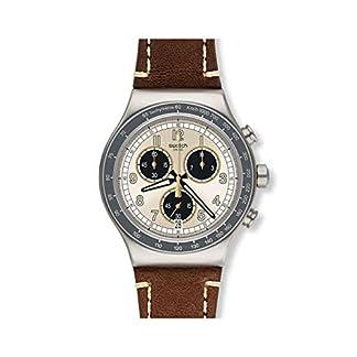 Swatch Reloj Cronógrafo para Hombre de Cuarzo con Correa en Cuero YVS455