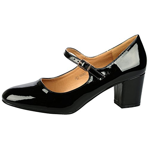 ByPublicDemand Xanthe Womens Mid Block Heel Mary Jane Smart Office Court Shoes...