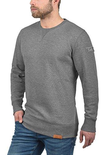 SOLID Trip Herren Sweatshirt Pullover Sweater mit Rundhals-Ausschnitt aus hochwertiger Baumwollmischung Meliert Grey Melange (8236)