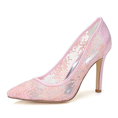 Pompe ad alto tacco delle donne suggeriscono il merletto trasparente Pink