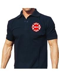 Polo Marina, Chicago Fire Department Emblema de estándar en el pecho azul marino azul marino Talla:medium