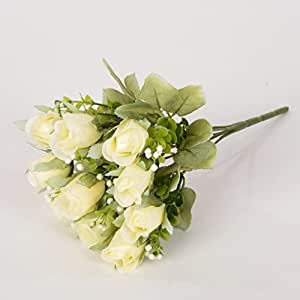 5 Ast da Flowers Bouquet artificiale di seta rosa Rosebud Wedding Decor, 1 mazzo di fiori, giallo chiaro