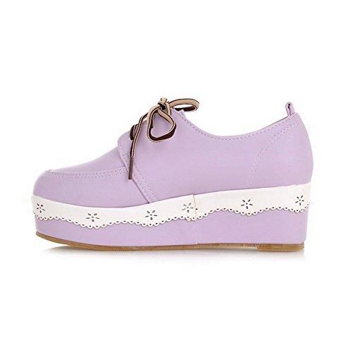 VogueZone009 Femme Lacet Rond à Talon Correct Pu Cuir Couleur Unie Chaussures Légeres Violet