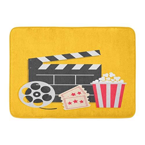 Badematte Big Movie Reel Open Klöppel Board Popcorn Box Ticket Geben Sie EIN DREI Sterne Kino Gelb Flaches Design Stil Badezimmer Dekor Teppich