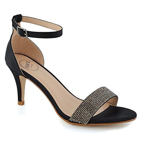 Womens Party Sandals Low Heel Stiletto Peeptoe Ladies Diamante Ankle Strap Shoes