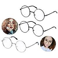 1. Le forfait comprend :. 3PC lunettes rondes en métal (Black x2, Silver x1)  2. Taille de monture de lunettes: 5cm, lunettes jambes Taille: 13.5cm 3. lunettes rondes rétro cadres Marterial: plastique, structure métallique. 4. lunettes rondes vintage...