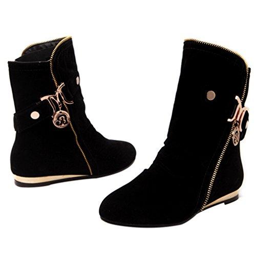 Zip Womens Slouch Noir Fermé Flats Block Ankle Heel Low Buckle orteil ENMAYER Boots Comfort U8xpCqq