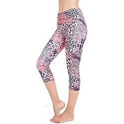 SEYO Pantalones de Yoga Mujer Leggins Leotardos Capri Impreso Mallas Deportivas No Ver a Través (Leopardo Rojo, Large)