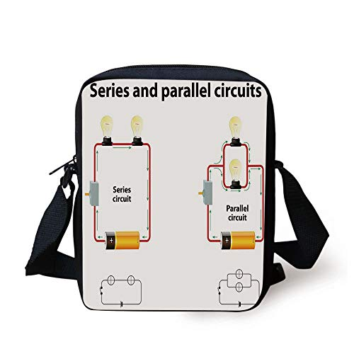 Educational,Series and Parallel Circuits Voltage Electric Science Equipment Print,Red Marigold Black Print Kids Crossbody Messenger Bag Purse -