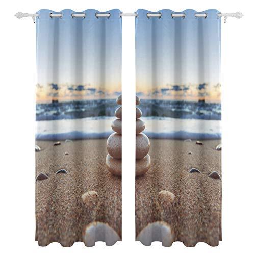 Playa Piedra Arena Paisaje un Lado impresión Cortinas Cortinas Cortinas Tratamiento de Ventanas Cortinas de Ducha Paneles para el Dormitorio Sala de Estar Cocina baño 55 x 78 Pulgadas 2 Piezas