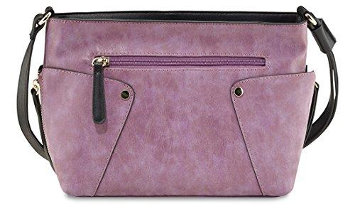 PICARD Mega 2405 Umhängetasche Damen Schultertasche Tasche 28x19x11 cm (BxHxT), Farbe:Cognac Schwarz