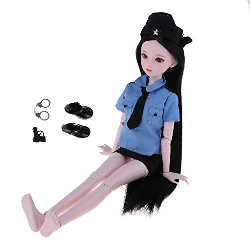 Anzug Nackten Kostüm Körper - Baoblaze Weibliche Nacktes Puppenkörper mit Polizistin Kostüm Cosplay Anzug für 1/3 BJD Puppe Dress Up - # A