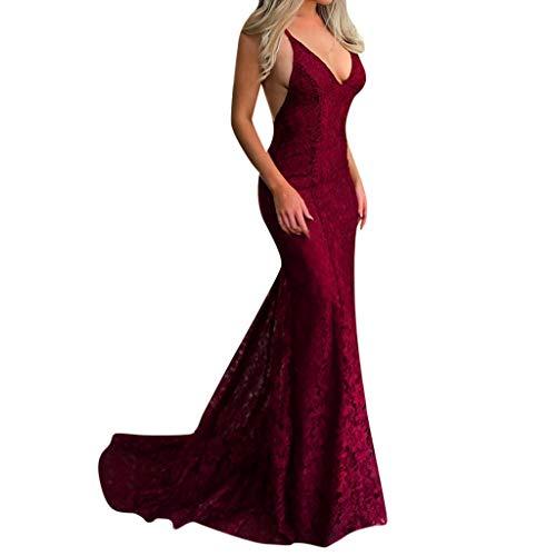 Felicove Enges Kleid, Frauen Sling V-Ausschnitt Brautkleid Elegante Party Abend dünne Spitze Maxi Kleider Cocktailkleid für Hochzeit Damen Abendkleider Red Kleider M/L/XL/XXL/XXXL