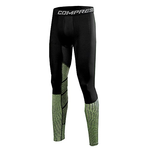 Foto de 1Bests Men's Athletic Running Basketball Compression Pants Fitness Quick-drying Pants Sports Tights Leggings (M, Green arrow net)