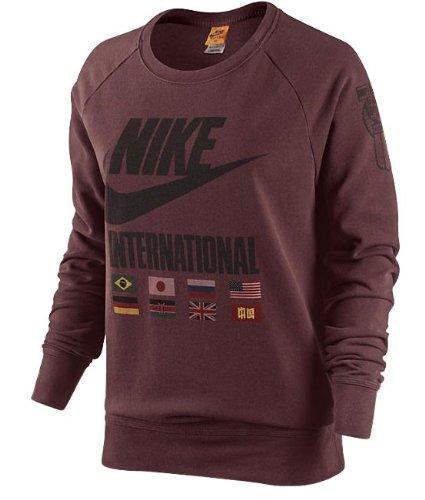 NIKE Felpa Donna Girocollo Manica Lunga Track & Field Colore Bordeaux (M)