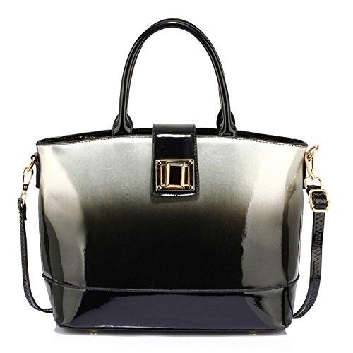 LeahWard Patent zwei Tone Taschen für Frauen Nizza Damen Tote Umhängetasche Handtasche 00329 (Silber Zweifarbige Handtasche) (Zwei-ton-reißverschluss Tote)