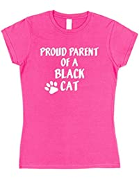 Click My Clobber Womens, T-Shirt, Proud Parent Of A Black, Cat Great Christmas Gift Idea For Cat Lover,