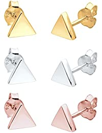 Elli Damen Schmuck Ohrringe Ohrstecker Set Dreieck Geo Trend Tricolor Minimal Silber 925 Rosé Vergoldet