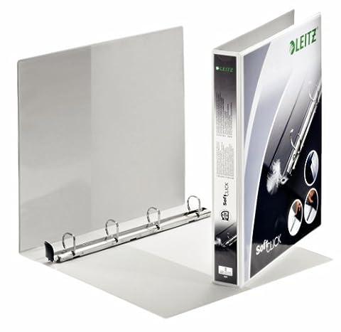 Leitz 42000001 Ringbuch SoftClick, A4, 2 Außentaschen, 4 Ringe, 20 mm, weiss