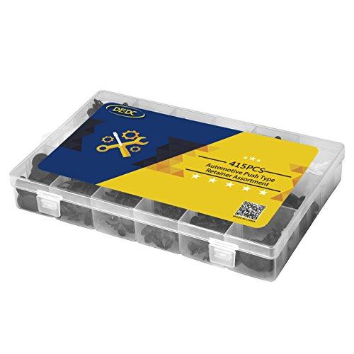 DEDC 240 Pcs Clips Agrafe Plastique Pour Voiture Universel avec Boîte de Rangement et 1pc Extracteur Outils Extractuer d'Agrafe Noir Rouge Plastique Acier