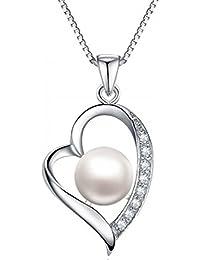 Rhodiniert 925 Sterling Silber Zirkonia 8mm Simulierte-Perle Herz Anhänger Kette Damen