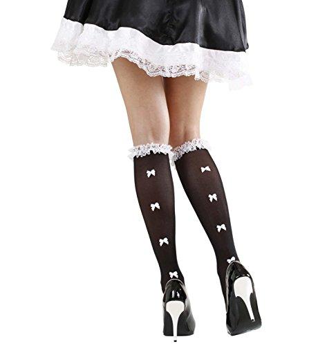 Schwarz Und Rot Rüschen-socken (WIDMANN Schwarze Socken mit Rüschen Spitzenbesatz & weißen Schleifen Zubehör für Dessous Fasching)