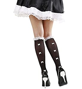WIDMANN S.R.L. Calcetines Negros con Volantes De Encaje Trim & Blanco Arcos Accesorios para la Ropa Interior del Vestido