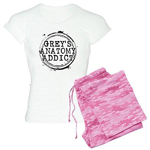 CafePress Grey 's Anatomy Addict Damen leichte Schlafanzüge–Damen Neuheit Baumwolle Pyjama Set, bequemen PJ Nachtwäsche Gr. Medium, With Pink Camo Pant (Bottoms Pj Lustig)