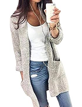 Vemubapis Women 's Open Front Knit Sweater Manga Larga Longline Cardigan con Bolsillos