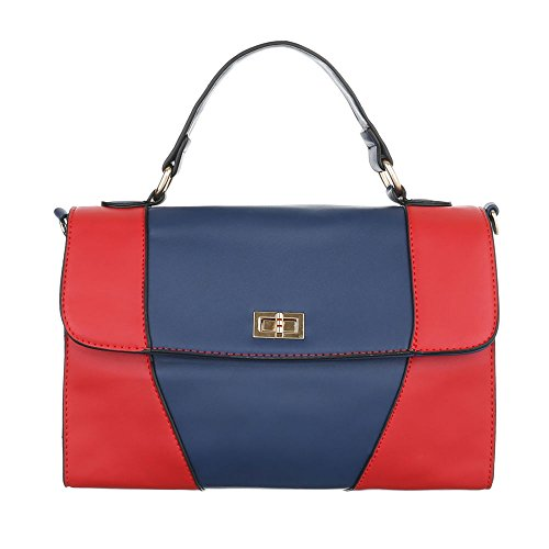 Borsa A Tracolla Da Donna Borsa A Mano Nero Blu Rosso Modello Nr1 Blu