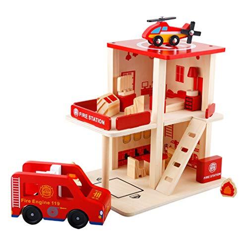 Injoyo Jouet Montessori en Bois Jeux de Société pour Enfants Filles Garcons 3 Ans et Plus - Commissariat de Police Stationnement - caserne de Pompiers