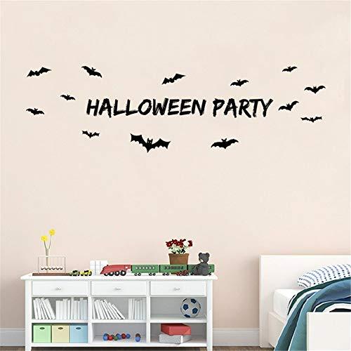 wandaufkleber 3d Halloween mit Fledermaus für Windows Esszimmer Kinderzimmer Mädchen Raumdekorationen