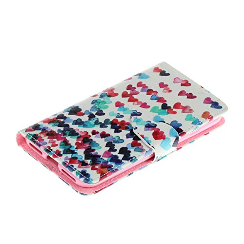 Coque Etui pour iPhone 7/iPhone 8, iPhone 8 Coque Portefeuille PU Cuir Etui, iPhone 7 Coque de Protection en Cuir Folio Housse,iPhone 7 Leather Case Wallet Flip Protective Cover Protector, Ukayfe Etui Colorful coeur