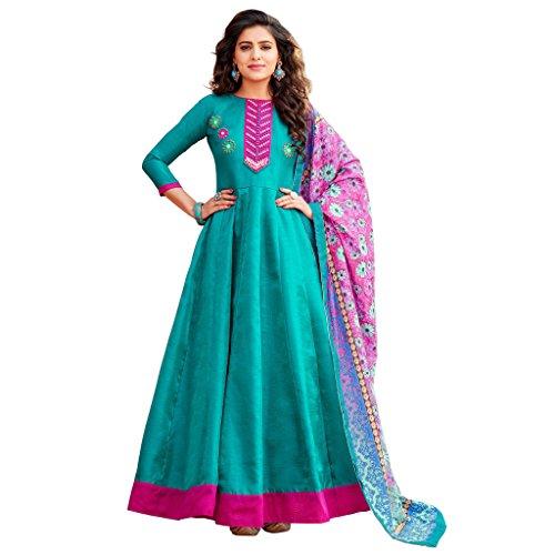 Ethnic Empire Women's Banglori Satin Semi Stitch Salwar Suit (Ethnic_ER11066_Sky Blue_Free Size)