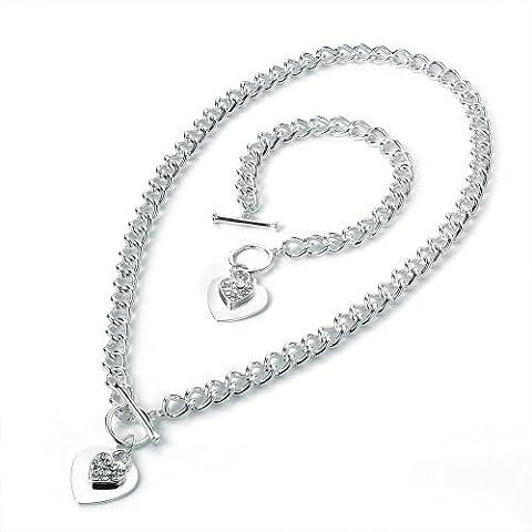Tiffany Style Necklace & Bracelet Set - Fashion Necklace & Matching Bracelet