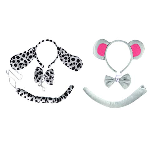 NUOBESTY 2 Sätze Hund Ohren und Schwanz Set Maus Ohren Stirnband Fliege Nase und Schwanz Kinder Tier Ostern Party Cosplay Kostüm ()
