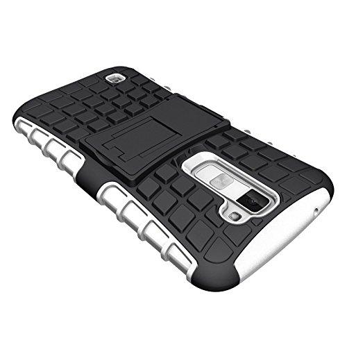 LG K10 Case, DMG Rugged Hybrid Back Cover Kickstand Armor Case for LG K10 (White)