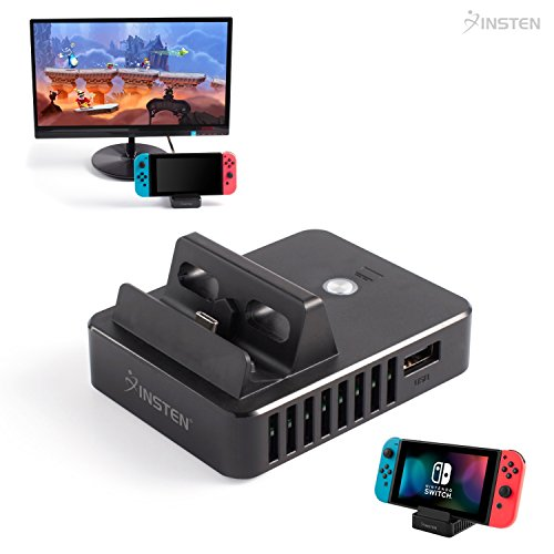 Price comparison product image Nintendo Switch TV Mode Charging Dock,  Insten Portable Charging Dock TV HDMI Convertor Cradle Stand with Screen Toggle Button,  HDMI Port & 3 USB Ports for Nintendo Switch