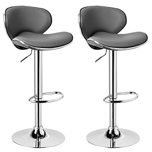 Woltu bh19gr-2 coppia sgabelli da bar estetica moderni sedia cucina alta con schienale poggiapiedi senza braccioli similpelle cromato altezza regolabile girevole 2 pezzi grigio