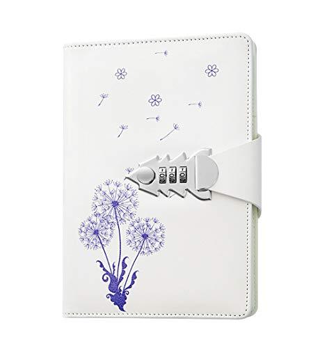 Ai-life Notizbuch mit Schloss, Retro Vintage PU Leder Password Notebook Passwort Tagebuch Notizblock, 130 Seiten Notizblock mit Zahlenschloss, Größe 215 * 150mm