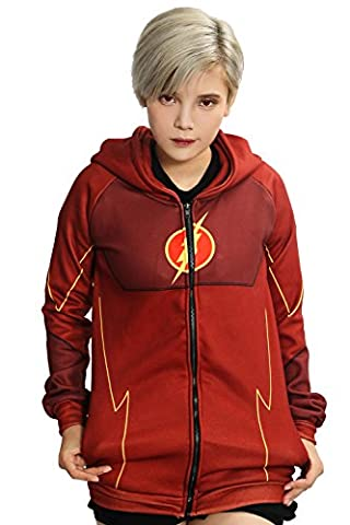 Cosplay Kostüm Kapuze pullover Hoodie Rot Polyester zip Jacke Sweatshirts Top Kleidung für Erwachsene Halloween (Barry Allen Halloween-kostüm)