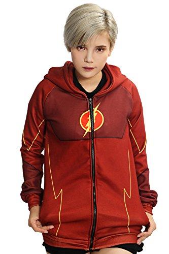 Kostüm Halloween Barry Allen (Cosplay Kostüm Kapuze pullover Hoodie Rot Polyester zip Jacke Sweatshirts Top Kleidung für Erwachsene Halloween)