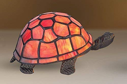 Ausverkauf! Schönes Orange Tiffany Inspiriert Schildkröte Dekorative Elektrische Nachttisch Lampe -