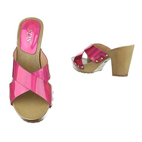 c1494c569bc67a ... Pantoletten Damen Schuhe Jazz   Modern Pump Nieten Besetzte Ital-Design  Sandalen   Sandaletten Pink