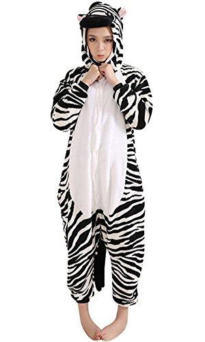 Moollyfox Adulte Unisexe Anime Animal Costume Cosplay Combinaison Pyjama Outfit Nuit Vêtements Onesie Fleece Halloween Costume Soirée de Déguisement Zèbre