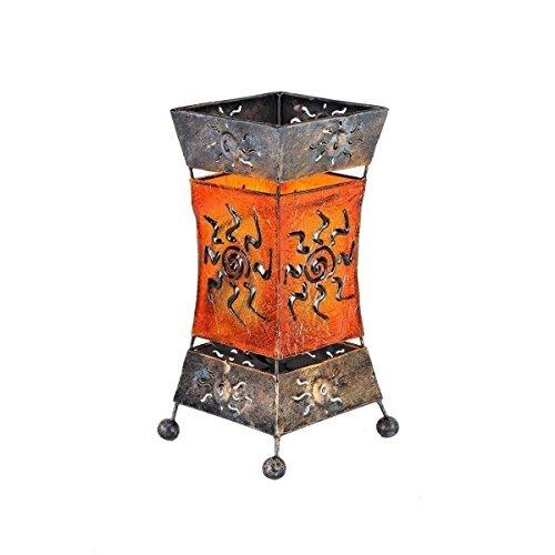 Tischlampe Deko Leuchte Stimmungsleuchte Stehleuchte Tischleuchte Orient Lampe Bali Asia XENIA 26 cm orange