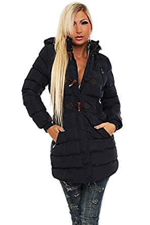 10152 Fashion4Young Damen Steppmantel Steppjacke Long Jacke Mantel verfügbar in 5 Größen 3 Farben (L = 40, Dunkelblau)
